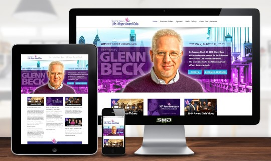2015 Life and Hope Award Gala Responsive Website Design | Glenn Beck