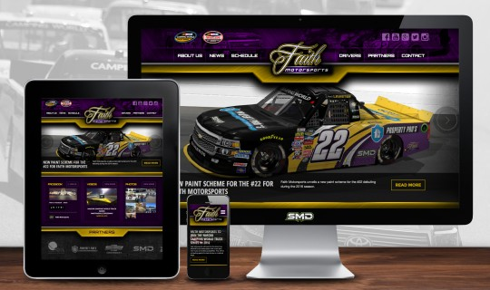 Responsive website design for Faith Motorsports