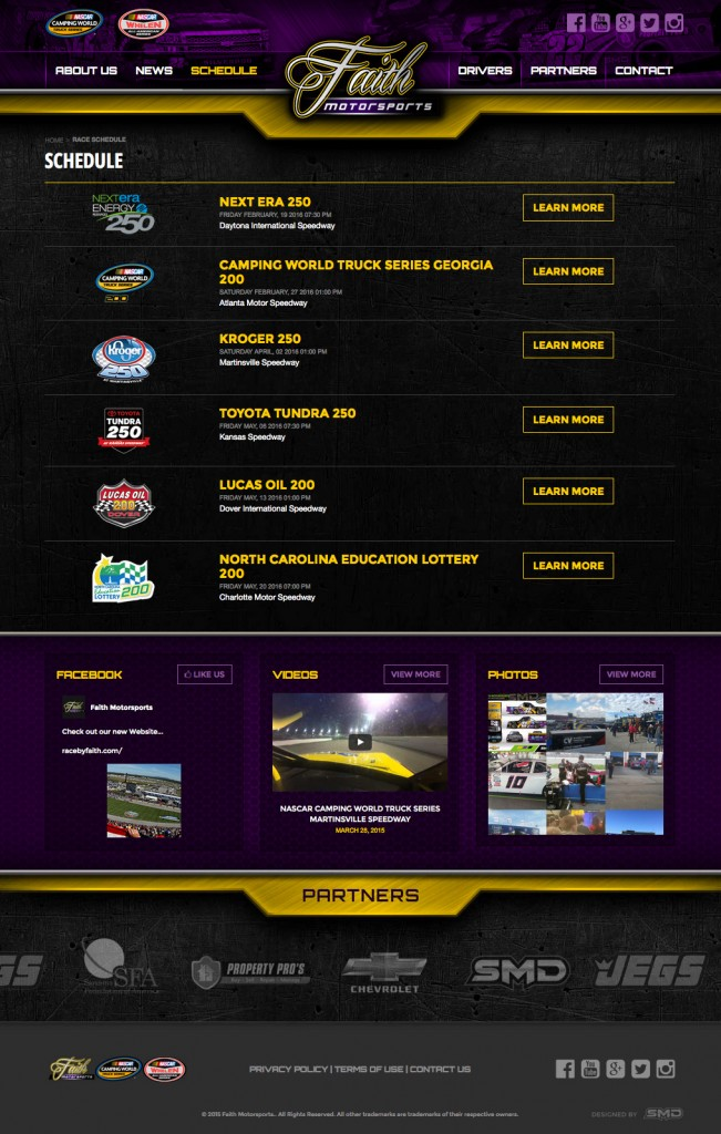 Faith Motorsports Interior Schedule Page