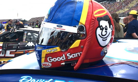 David Ragan's Helmet on pit road before the NASCAR race at Michigan.