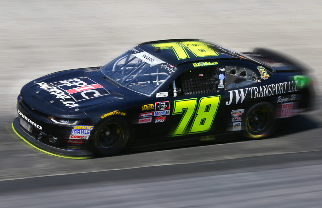 NASCAR driver BJ McLeod in the #78 at Bristol Motor Speedway
