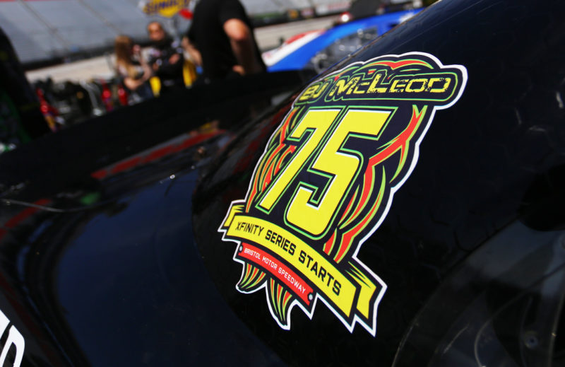 BJ McLeod 75th NASCAR Xfinity start logo