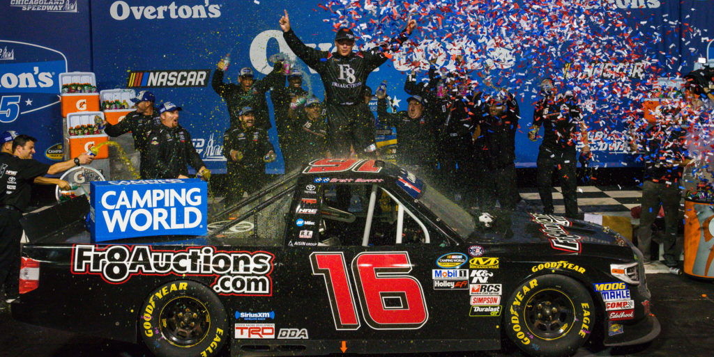 Brett Moffitt in victory lane at the Overton's 225 at Chicagoland