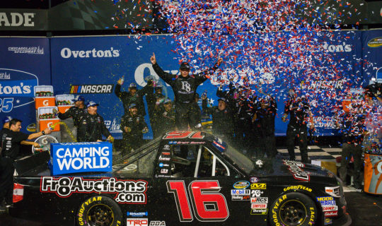 Brett Moffitt's victory lane celebration at Chicagoland Speedway in 2018