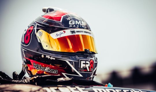Brett Moffitts' Fr8Auctions helmet designed by SMD and painted by OffAxis Paints